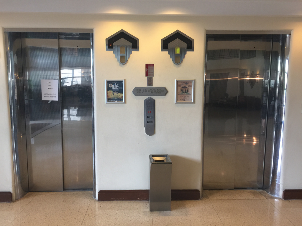 National Hotel Miami Elevators - One 'out of order' after the fall.